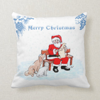 Merry Christmas - Santa Claus with Cat and Dog Pillow
