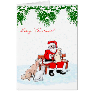 Merry Christmas - Santa Claus with Cat and Dog Greeting Card