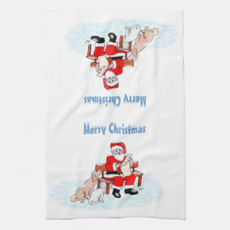 Merry Christmas - Santa Claus with Cat and Dog Hand Towel