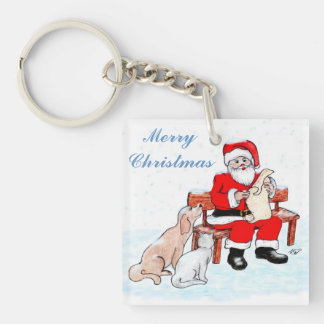Merry Christmas - Santa Claus with Cat and Dog Double-Sided Square Acrylic Keychain