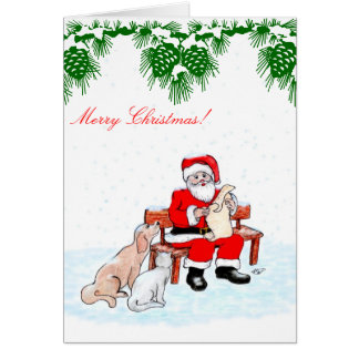 Merry Christmas - Santa Claus with Cat and Dog Note Card