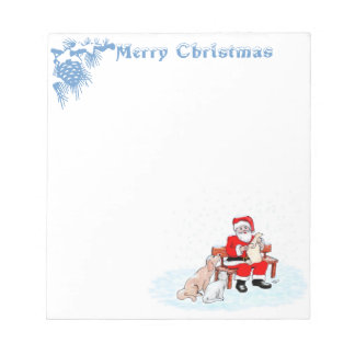 Merry Christmas - Santa Claus with Cat and Dog Memo Pad