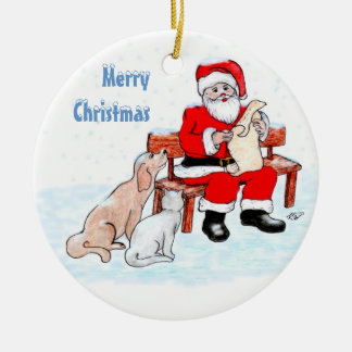 Merry Christmas - Santa Claus with Cat and Dog Round Ceramic Decoration