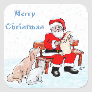 Merry Christmas - Santa Claus with Cat and Dog Square Stickers