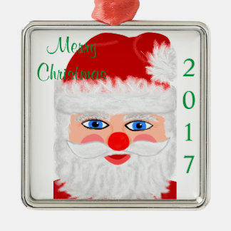 Merry Christmas Santa Claus Year Silver-Colored Square Decoration