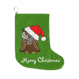 Merry Christmas Santa Hat Owl Large Christmas Stocking