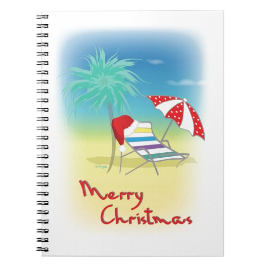 Merry Christmas, Santa Hat, Palm Tree, Beach Spiral Notebook