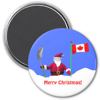 Merry Christmas Santa in Canada 7.5 Cm Round Magnet