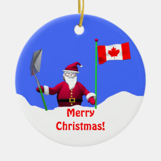Merry Christmas Santa in Canada Christmas Ornament