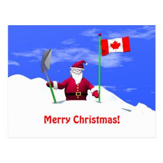 Merry Christmas Santa in Canada Postcard