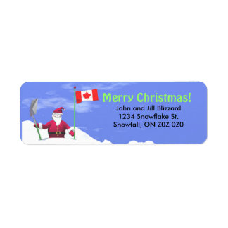 Merry Christmas Santa in Canada Return Address Label