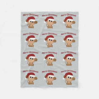Merry Christmas! Santa Monkey Fleece Blanket