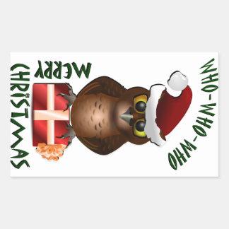 """Merry Christmas"" Santa Owl Rectangular Sticker"