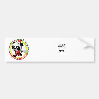 Merry Christmas Santa Panda Car Bumper Sticker
