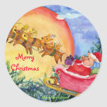 Merry Christmas Santa Pig Delivers Seal or Sticker