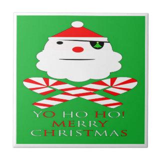 merry christmas santa pirate small square tile