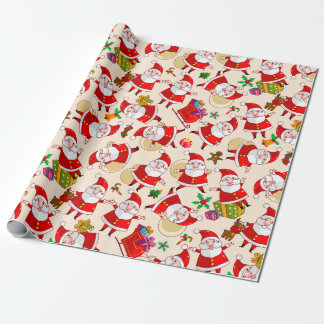 Merry Christmas Santa Red Gold Wrapping Paper 2