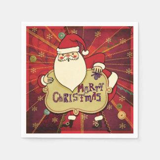 Merry Christmas Santa Red Paper Serviettes