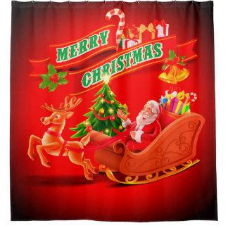 Merry Christmas Santa Sleigh and Reindeer Shower Curtain