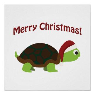 Merry Christmas! Santa Turtle Poster