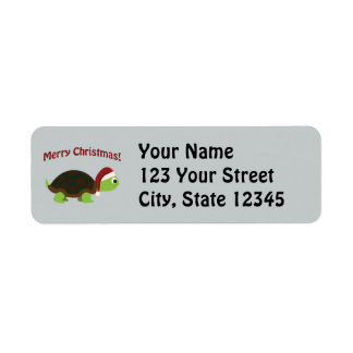 Merry Christmas! Santa Turtle Return Address Label