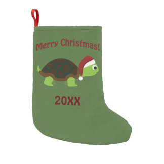 Merry Christmas! Santa Turtle Small Christmas Stocking