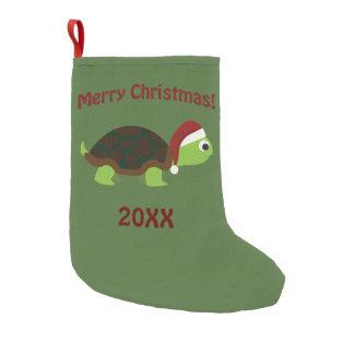 Merry Christmas! Santa Turtle Small Christmas Stocking