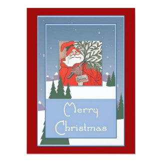 Merry Christmas - Santa With Christmas Pudding 17 Cm X 22 Cm Invitation Card