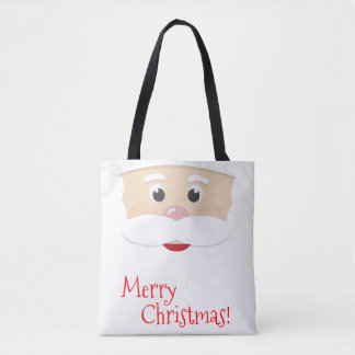 Merry Christmas Santa with Snowflakes Tote Bag