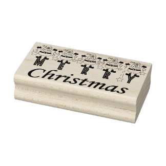 Merry Christmas Santas Rubber Stamp