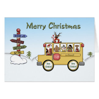 Merry Christmas School Bus Card