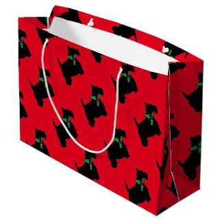 Merry Christmas Scottie and Holly Large Gift Bag