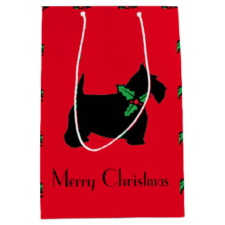 Merry Christmas Scottie and Holly Medium Gift Bag