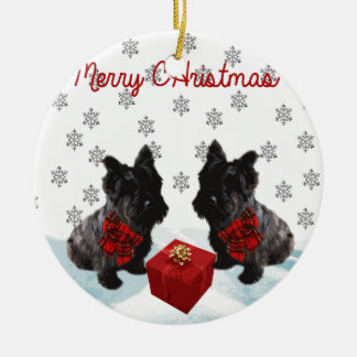 Merry Christmas Scottie Dog and Snowflakes Christmas Ornament