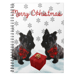 Merry Christmas Scottie Dog and Snowflakes Notebook