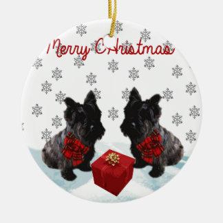 Merry Christmas Scottie Dogs Christmas Ornament