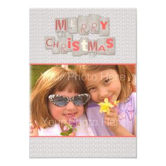 Merry Christmas Scrap Text, Snowflakes, Photo Card 13 Cm X 18 Cm Invitation Card