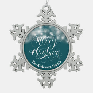 Merry Christmas Script and Stars ID194 Pewter Snowflake Decoration