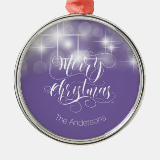 Merry Christmas Script and Stars ID194 Silver-Colored Round Decoration
