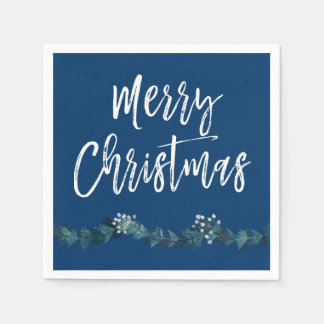 Merry Christmas Script Blue Christmas Disposable Serviette