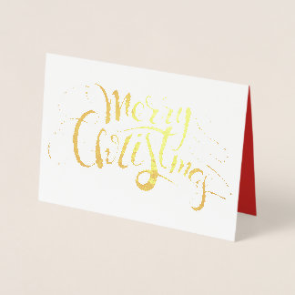 Merry Christmas Script Foil and Red Foil Card
