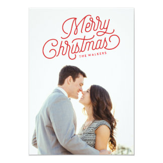 Merry Christmas Script Holiday Photo Card