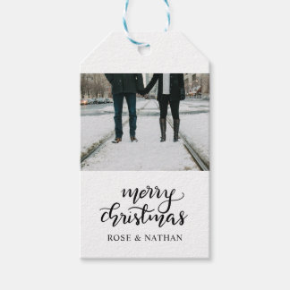 Merry Christmas Script Holiday Photo Gift Tags