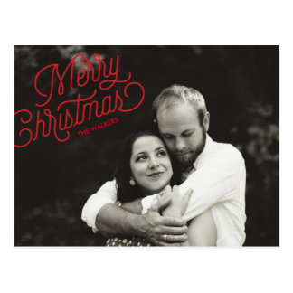 Merry Christmas Script Holiday Photo Postcard