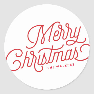 Merry Christmas Script Holiday Sticker Label