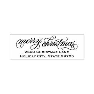 Merry Christmas | Script Return Address Self-inking Stamp