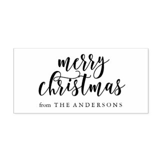 Merry Christmas Script Rubber Stamp