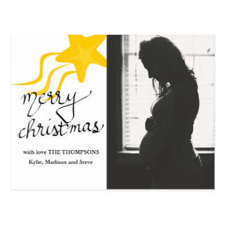 Merry Christmas Script | Star | Holiday Photo Postcard