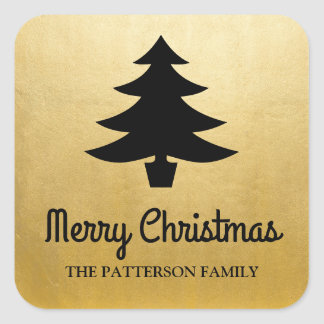 Merry Christmas Script | Tree Faux Gold Foil Square Sticker