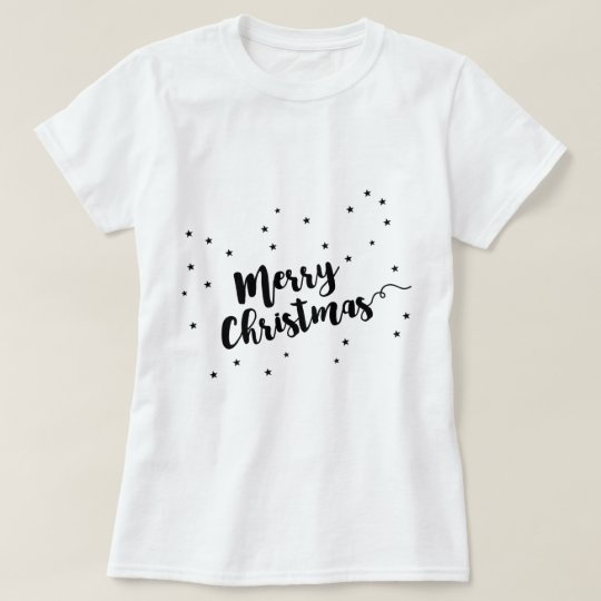 Merry Christmas - Script typography and stars T-Shirt